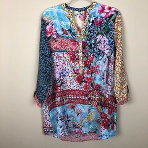 Vintage Japanese Inspired Colorful Tunic